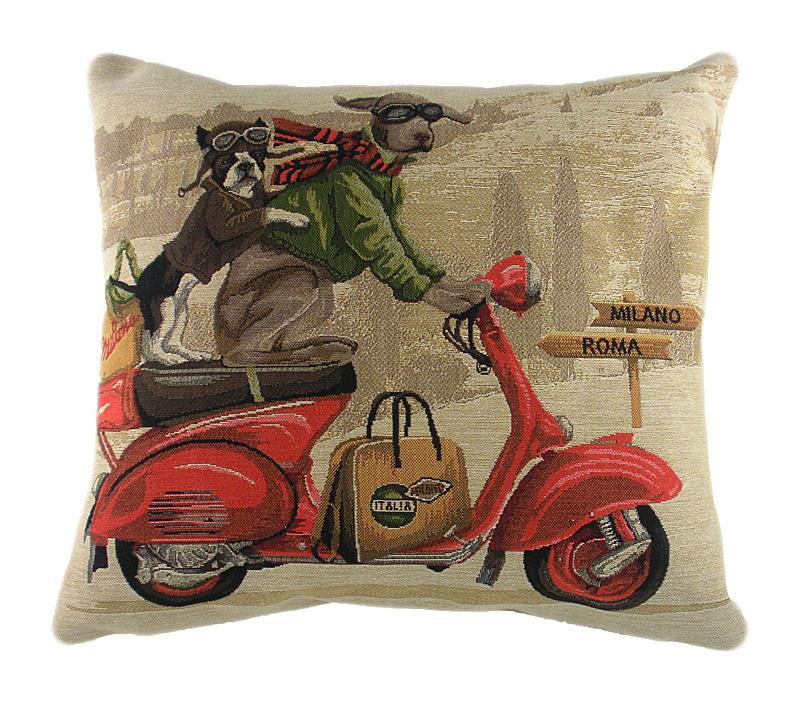 Подушка с картинкой Scooter Dogs RedПодушки<br>Мягкая бежевая подушечка, с изображением <br>едущих на красном скутере забавных пёсиков <br>Scooter Dogs Red, покрыта натуральной тканью (хлопок), <br>в серо-зеленом цвете, поможет вам расслабиться <br>и прибавит позитивного настроя, подчеркнет <br>вашу индивидуальность. Подушки с таким <br>декором подойдут для подарка и содержательно <br>украсят интерьер вашего дома.<br><br>Цвет: Бежевый, Красный<br>Материал: Хлопок<br>Вес кг: 0,5<br>Длина см: 46<br>Ширина см: 46<br>Высота см: 10