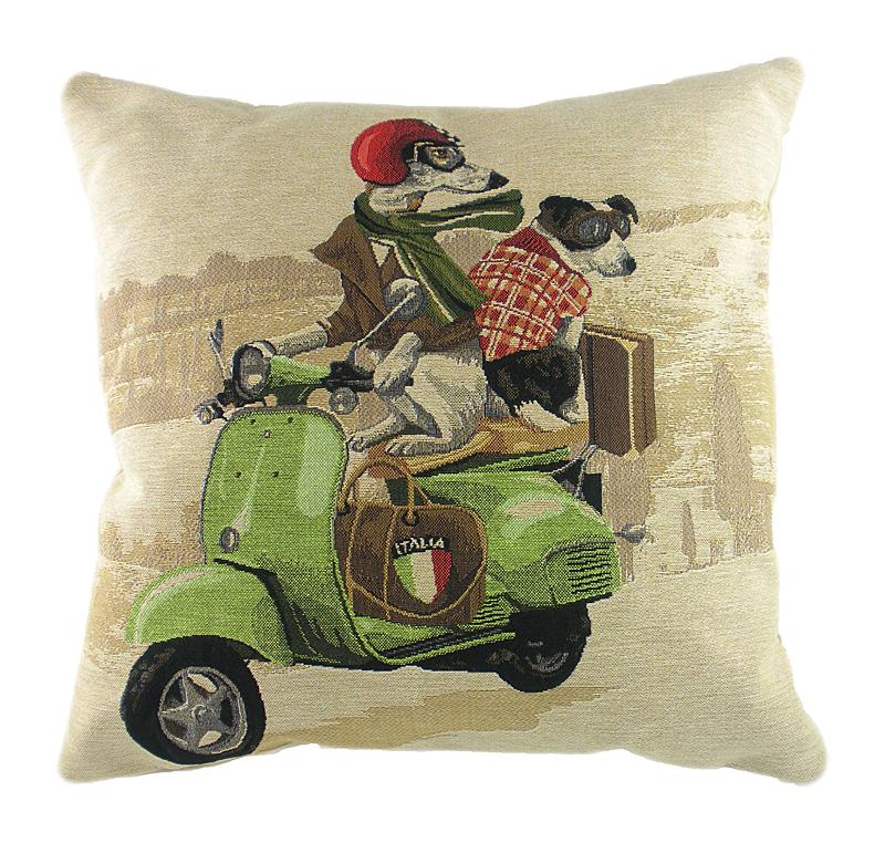 Купить Подушка с картинкой Scooter Dogs Green в интернет магазине дизайнерской мебели и аксессуаров для дома и дачи