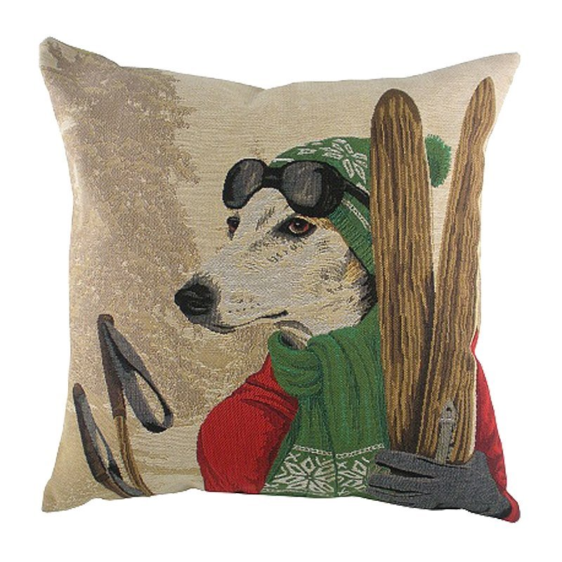 Фото Подушка с картинкой Ski Dogs Greyhound. Купить с доставкой