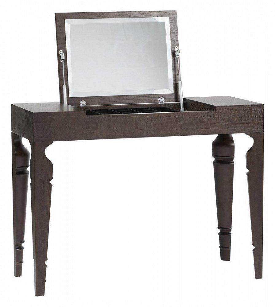 Туалетный столик с зеркалом Julie Brown TwoТуалетные столики (консоли)<br>Компактный туалетный столик Julie — это вещь, <br>которая незаменима для настоящей женщины. <br>Особенность этой модели заключается, прежде <br>всего, в цветовом решении — столик выполнен <br>в коричневом цвете. Также столик Julie имеет <br>необычные резные ножки, причем резьба выполнена <br>только с внутренней стороны. А еще у этого <br>столика есть секрет: на столешнице расположена <br>откидная крышка, открыв которую, вы обнаружите <br>зеркало, а также отделения для украшений, <br>косметики и мелочей.<br><br>Цвет: Коричневый<br>Материал: Дерево, МДФ<br>Вес кг: 26<br>Длина см: 100<br>Ширина см: 40<br>Высота см: 75