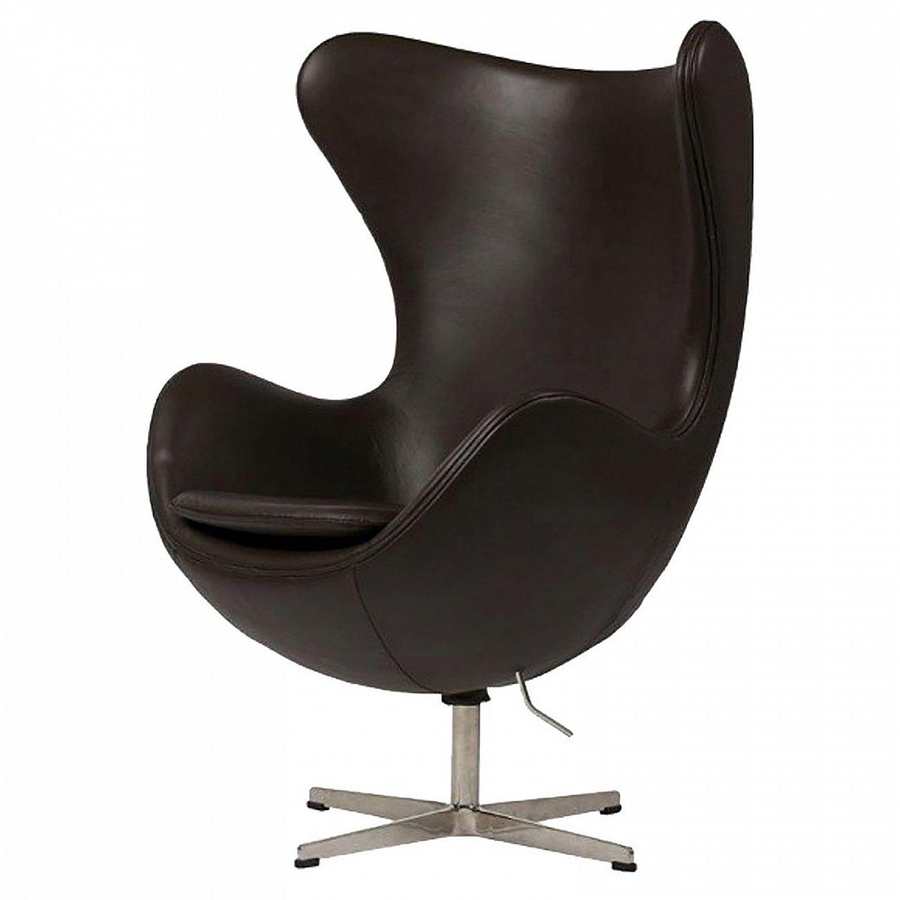 Купить Кресло Egg Chair Тёмно-коричневое Кожа Класса Премиум в интернет магазине дизайнерской мебели и аксессуаров для дома и дачи