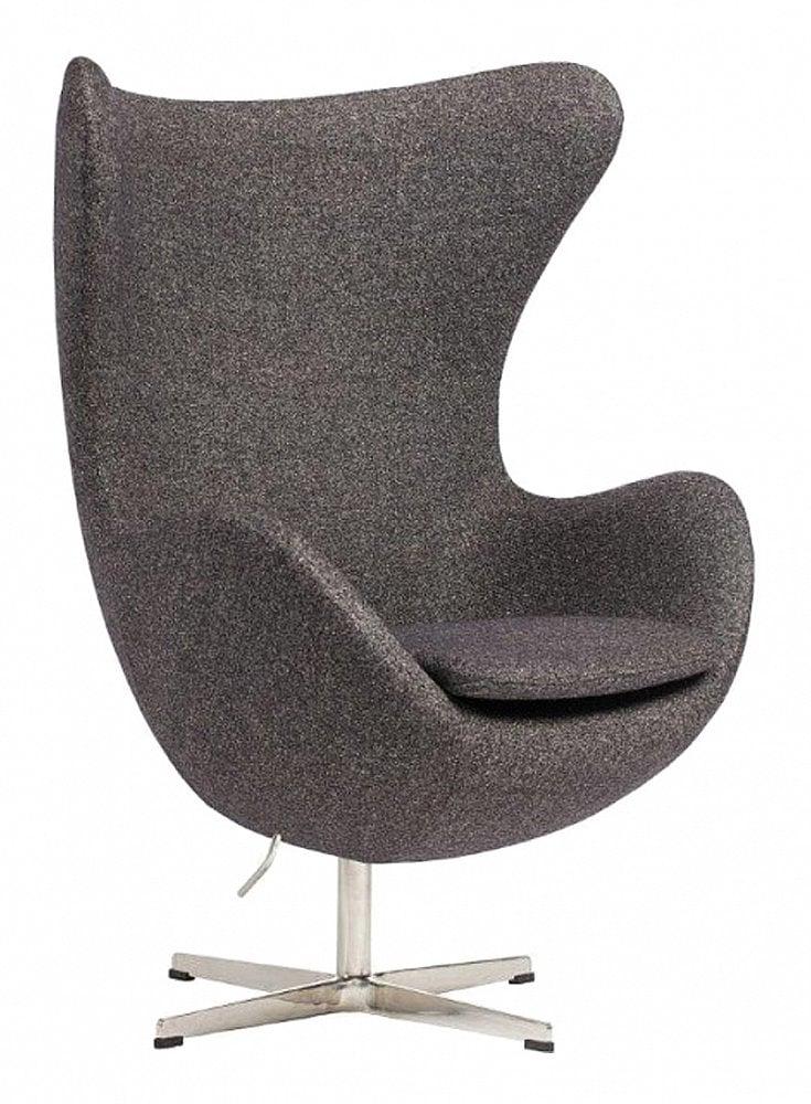 Кресло Egg Chair Серое 100% КашемирКресла<br>Кресло Egg Chair (Яйцо), созданное в 1958 году <br>датским дизайнером Арне Якобсеном, обладает <br>исключительной привлекательностью и узнаваемостью <br>во всем мире, занимает особое место в ряду <br>культовой дизайнерской мебели XX века. Оно <br>имеет экстравагантную форму и неординарное <br>исполнение, что позволило ему стать совершенным <br>воплощением классики нового времени. Кресло <br>Egg Chair, выполненное в форме яйца, подарит <br>огромное множество положительных эмоций <br>и заставляет обращать на него внимание. <br>Оно непременно задаёт основу для дизайна <br>того или иного помещения. Прочный и массивный <br>каркас из стекловолокна, обтянутый 100% кашемировой <br>тканью, и ножка из нержавеющей стали гарантируют <br>долгий срок службы и устойчивость. Данное <br>кресло — это поистине не стареющая классика <br>в футуристическом исполнении! Купите великолепную <br>реплику кресла Egg Chair — изготовленное из <br>высококачественных материалов, оно понравится <br>многим любителям нестандартного видения <br>обыденных и, притом, качественных вещей.<br><br>Цвет: Серый<br>Материал: Кашемир, Металл<br>Вес кг: 37<br>Длина см: 82<br>Ширина см: 76<br>Высота см: 105