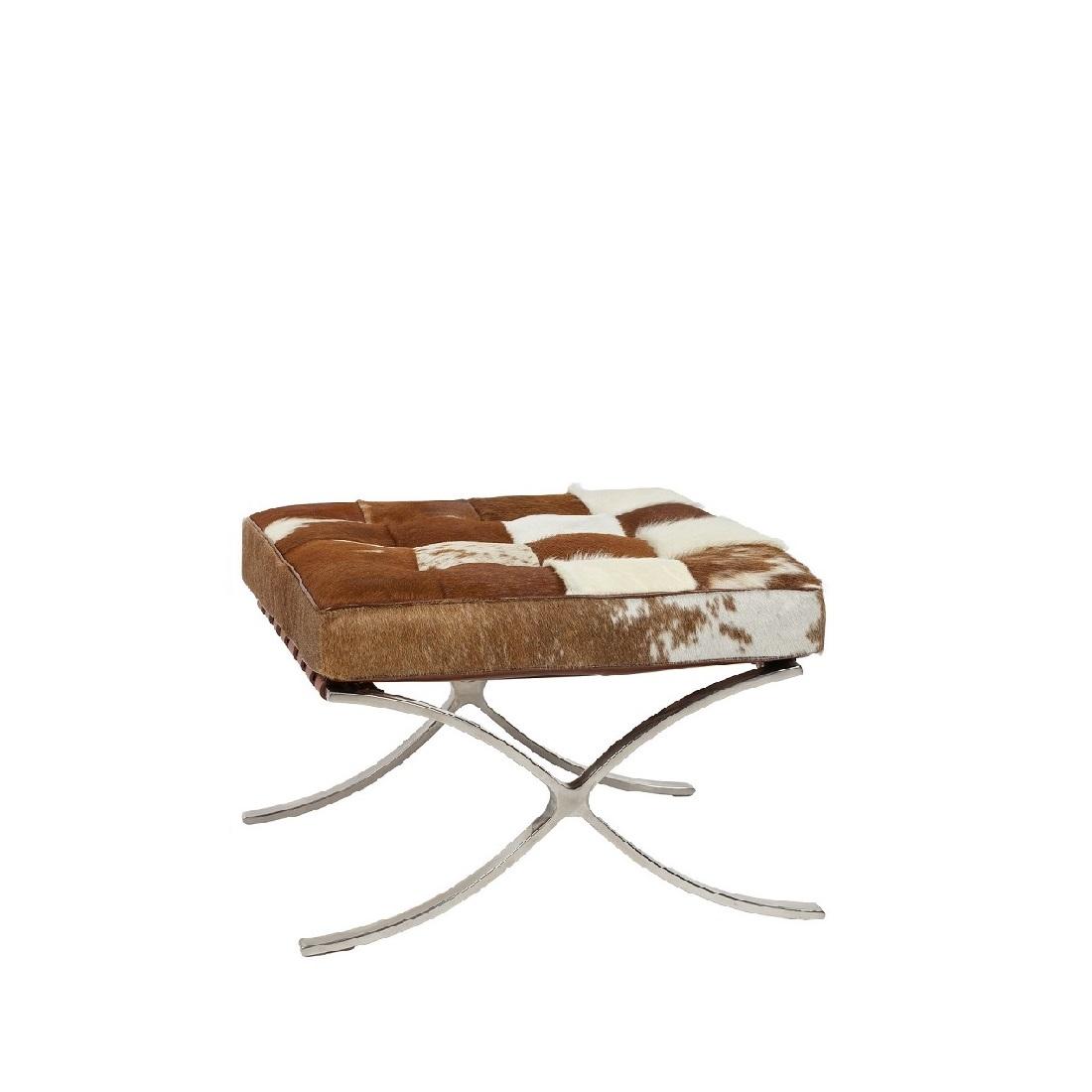 Купить Оттоманка Barcelona Коричнево-белая Кожа Пони Премиум в интернет магазине дизайнерской мебели и аксессуаров для дома и дачи
