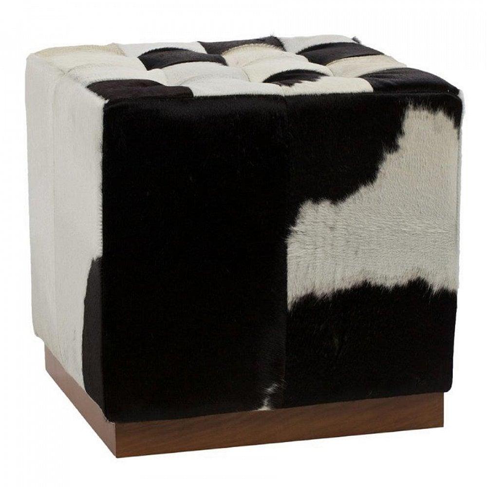 Фото Пуф Сubic Pony Черно-белая Кожа Пони Класса  Премиум. Купить с доставкой