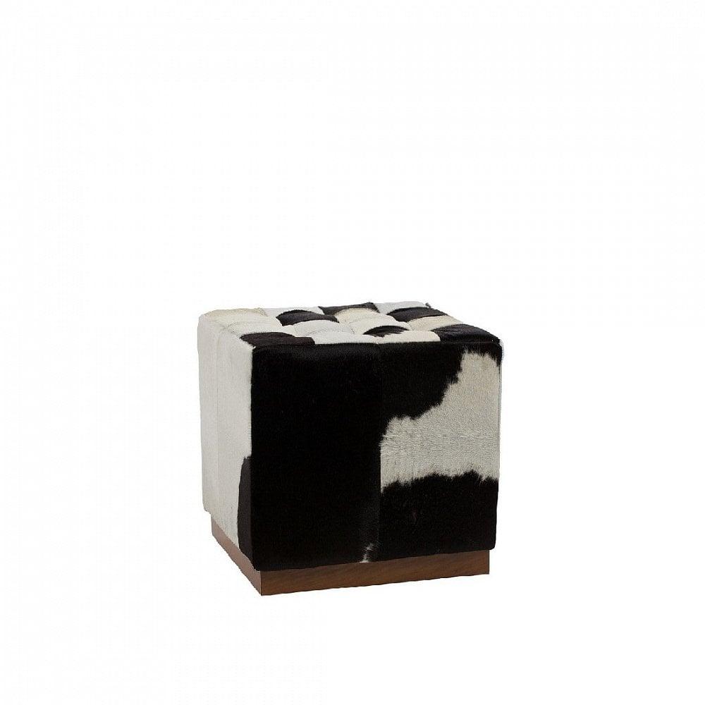 Пуф Сubic Pony Черно-белая Кожа Пони Класса Премиум