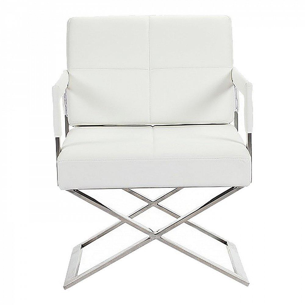 Кресло Aster X Chair Белая Кожа Класса ПремиумКресла<br>Великолепный футуристический стиль дизайнерского <br>кресла для дома Aster X Chair заставляет остановить <br>на нем взгляд. Массивное сиденье и изящная, <br>тонкая основа из нержавеющей стали создают <br>впечатление того, что вся конструкция кресла <br>парит в воздухе. Благодаря своему нестандартному <br>дизайну, кресло Aster X Chair замечательно вольется <br>в любой интерьер. Выполненное из материалов <br>высокого качества, кресло будет долго служить <br>вам, не изнашиваясь и не теряя своего первоначального <br>внешнего вида. Вы сами можете выбрать материал <br>обивки кресла Aster X Chair из предоставленных <br>в нашем интернет-магазине текстиля, экокожи <br>приятной фактуры и натуральной кожи нежнейшей <br>выделки. Очень стильное и удобное кресло!<br><br>Цвет: Белый<br>Материал: Кожа, Поролон, Металл<br>Вес кг: 25<br>Длина см: 60<br>Ширина см: 66<br>Высота см: 89