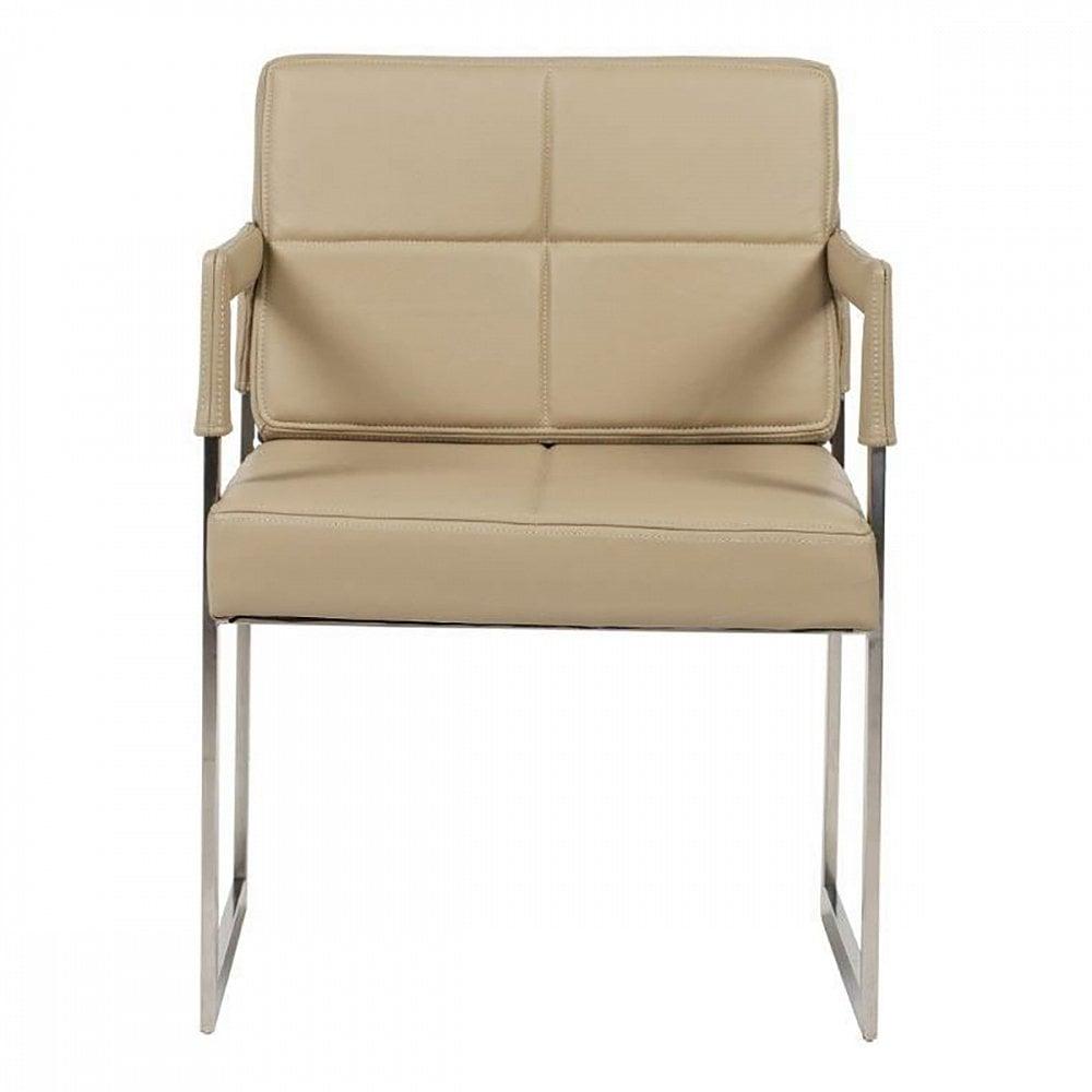 Кресло Aster Chair Бежевая Кожа Класса ПремиумКресла<br>Кресло Aster Chair от знаменитого французского <br>дизайнера Жан-Мари Массо (Jean-Marie Massaud) поистине <br>достойно внимания ценителей стильной мебели. <br>Это кресло — отличный выбор для любителей <br>современного стиля и эстетики хай-тек. Он <br>будет отлично смотреться как в гостиной <br>в паре с другим таким же креслом и журнальным <br>столиком, так и в рабочем кабинете или офисе. <br>Квадратные ножки стула выполнены из нержавеющей <br>стали, а сиденье и спинка — мягкие, каркас <br>из дерева обит натуральной кожей бежевого <br>цвета. Купите великолепную реплику кресла <br>Aster Chair, благодаря такому дизайну оно гармонично <br>дополнит любой интерьер.<br><br>Цвет: Бежевый<br>Материал: Кожа, Поролон, Металл<br>Вес кг: 26<br>Длина см: 55<br>Ширина см: 60<br>Высота см: 89