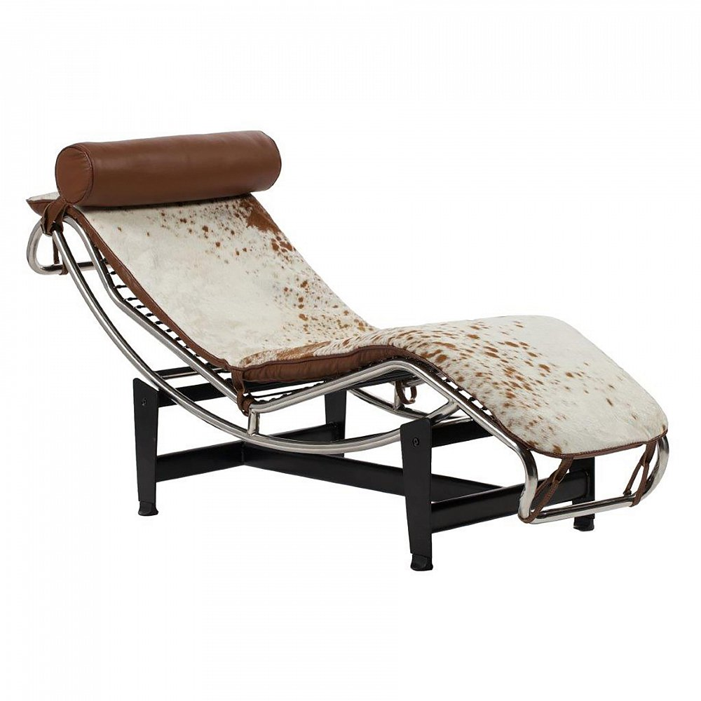 Кушетка Le Corbusier Chaise Lounge Pony Brown-White, DG-F-KSH306BRWL