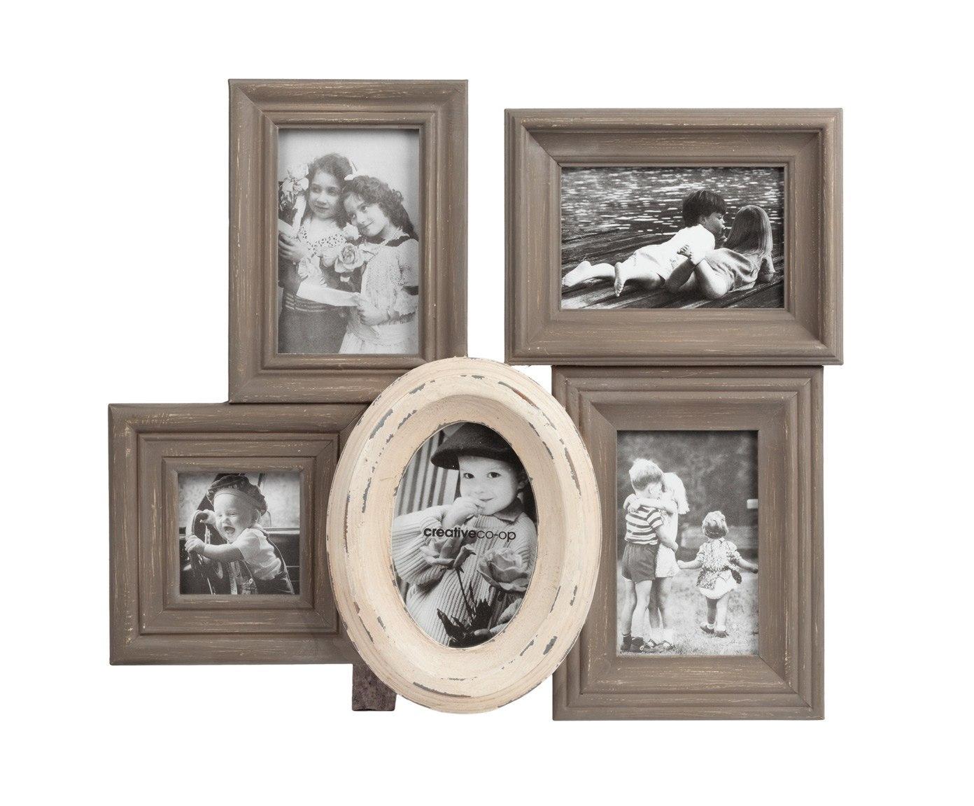 Рамка фотоколлаж для 5 фотографий ValoriФоторамки<br>Рамка в виде фотоколлажа предназначена <br>для пяти фотографий, состоит из одной бежевой <br>овальной и четырех коричневых прямоугольных <br>рамочек, органично расположенных относительно <br>друг друга. Овальная рамочка слегка состарена, <br>это подчеркивает особый колорит фотоколлажа. <br>Под фотографии: 10*15, 9*9.<br><br>Цвет: Коричневый, Бежевый<br>Материал: МДФ<br>Вес кг: 1,9<br>Длина см: 46<br>Ширина см: 39<br>Высота см: 5