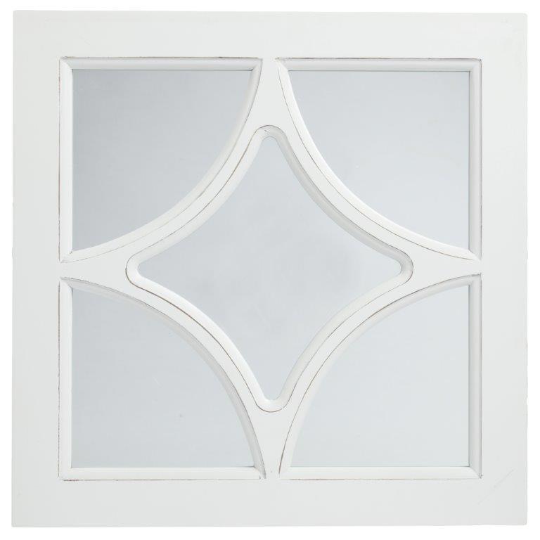 Зеркало в раме RomboЗеркала<br>Зеркало в раме Rombo приятного белого цвета <br>изготовлено из высококачественного материала <br>МДФ. Такой предмет декора дома наполнит <br>его французским колоритом и провинциальной <br>простотой одновременно. Изысканная форма <br>рамы, переходящая внутрь зеркала в виде <br>ромба привнесет в комнату в стиле Прованс <br>особый шарм и очарование.<br><br>Цвет: Белый<br>Материал: Зеркало, МДФ<br>Вес кг: 2<br>Длина см: 40<br>Ширина см: 2<br>Высота см: 40