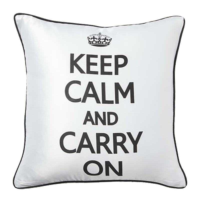 Подушка с надписью Keep Calm and Carry OnПодушки<br>Знаменитый английский слоган — «Сохраняйте <br>спокойствие и продолжайте в том же духе!» <br>— теперь и в вашем доме! Черно-белая подушка <br>с нежной текстурой ткани станет беспроигрышным <br>вариантом для украшения Вашей спальни или <br>гостиной! Подушка также будет отличным <br>сувениром и оригинальным подарком.<br><br>Цвет: Белый<br>Материал: 65% хлопок, 35% полиэстер<br>Вес кг: 0,4<br>Длина см: 43<br>Ширина см: 43<br>Высота см: 10