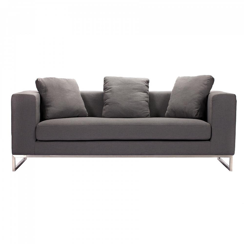 Диван Dadone Большой СерыйДиваны<br>Ничто не сможет лучше помочь в создании <br>уюта дома, чем удобный диван. Небольшой <br>уютный диван Dadone Sofa — это невероятно комфортный, <br>модный и довольно стильный от известного <br>итальянского дизайнера Антонио Читтерио <br>(Antonio Citterio). Он прибавит необычного шарма <br>и внесет особую теплоту вашему интерьеру. <br>Обивка дивана благородного серого цвета <br>— находка дизайнеров, она дает возможность <br>вписаться в современный интерьер и классический. <br>Основание, оно же ножки, изготовлено из <br>нержавеющей стали в виде прочной стальной <br>рамы. Большие мягкие подушки делают данную <br>модель еще более оригинальной. Обивка из <br>нежного кашемира и дизайн позволяют дивану <br>украсить собой современный или классический <br>интерьер, а мягкие подушки дают вам возможность <br>расслабиться с комфортом после трудного <br>рабочего дня. Выберите в нашем магазине <br>высококачественную реплику дивана из коллекции <br>Dadone для комнаты в современном городском <br>стиле: лофт, минимализм, хай-тек.<br><br>Цвет: Серый<br>Материал: Ткань, Поролон, Металл<br>Вес кг: 63<br>Длина см: 184<br>Ширина см: 70<br>Высота см: 68