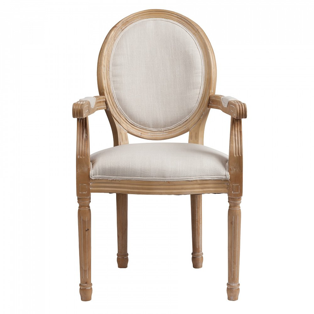 Кресло Vintage French Cane Back Round Кремовый Лен