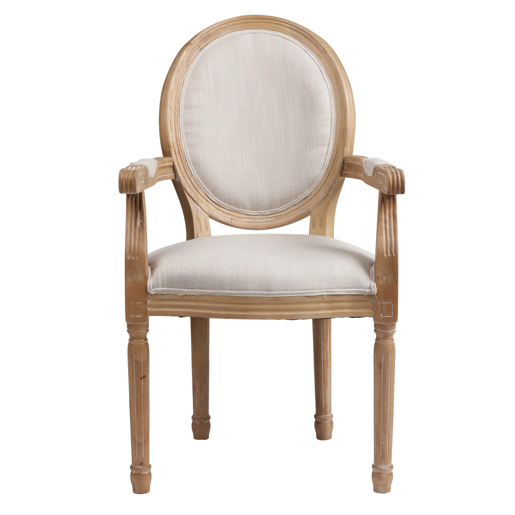 Кресло Vintage French Round Кремовый ЛенКресла<br>Это кресло напоминает мебель времен Людовика <br>и Марии-Антуанет. Ведь именно тогда был <br>пик расцвета стилей Прованс и Барокко. Выполненное <br>в современном толерантном стиле, кресло <br>Vintage French Round, тем не менее, ярко показывает <br>свои французские истоки. Действительно, <br>оно бы украсило не один дворец или палаццо. <br>Прочный каркас из массива дуба, классические <br>округлые формы, своеобразная спинка в виде <br>медальона, высокие тонкие ножки и округлые <br>бока — стиль Прованс! Простое и изысканное, <br>легкое и воздушное, кокетливое и притягательное <br>— вот так можно описать кресло Vintage French <br>Round. Прекрасно подобранное сочетание белого <br>и бежевого цветов придает очарование и <br>шарм. Этот предмет украсит гостиную или <br>столовую, бальный зал или спальню. Купите <br>это кресло в нашем интернет-магазине — <br>вы не разочаруетесь!<br><br>Цвет: Бежевый<br>Материал: Ткань, Поролон, Дерево<br>Вес кг: 8<br>Длина см: 58,5<br>Ширина см: 61<br>Высота см: 102