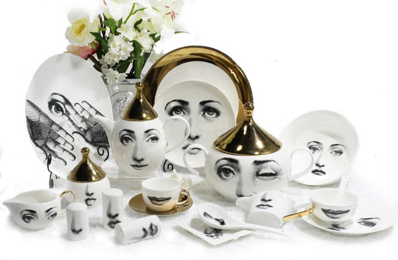 Купить Столовый сервиз Пьеро Форназетти Golden Faces в интернет магазине дизайнерской мебели и аксессуаров для дома и дачи