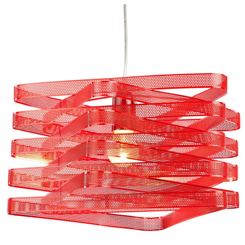 Подвесной светильник InfinityПодвесные светильники<br>Подвесной светильник Infinity, со стальным <br>основанием красного цвета, крепится на <br>тонкой гибкой подвеске. Абажур в виде металлических <br>сетчатых лент красного цвета, элегантно <br>закрученных вокруг лампочки, направляет <br>свет вниз. Светильник надежен, удобен и <br>красив. Длина провода 83 см.<br><br>Цвет: Красный<br>Материал: Металл<br>Вес кг: 1,8<br>Длина см: 42<br>Ширина см: 42<br>Высота см: 25