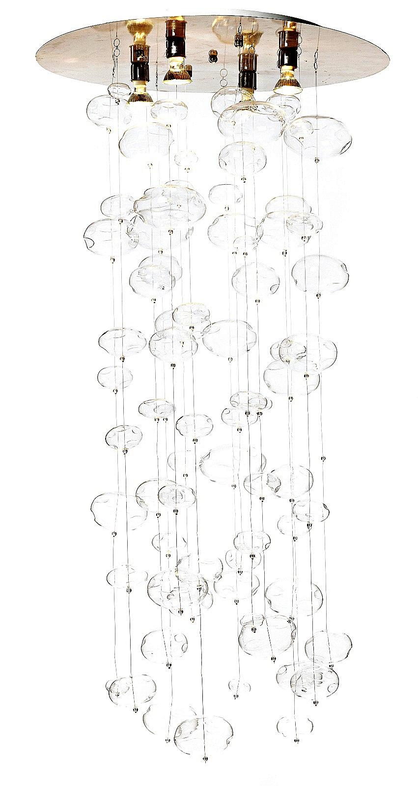 Подвесной светильник VortexПодвесные светильники<br>Стальное основание, стеклянные шарики. <br>Длина провода 80 см.<br><br>Цвет: прозрачный, серебро<br>Материал: Металл, Стекло<br>Вес кг: 3,3<br>Длина см: 60<br>Ширина см: 60<br>Высота см: 80