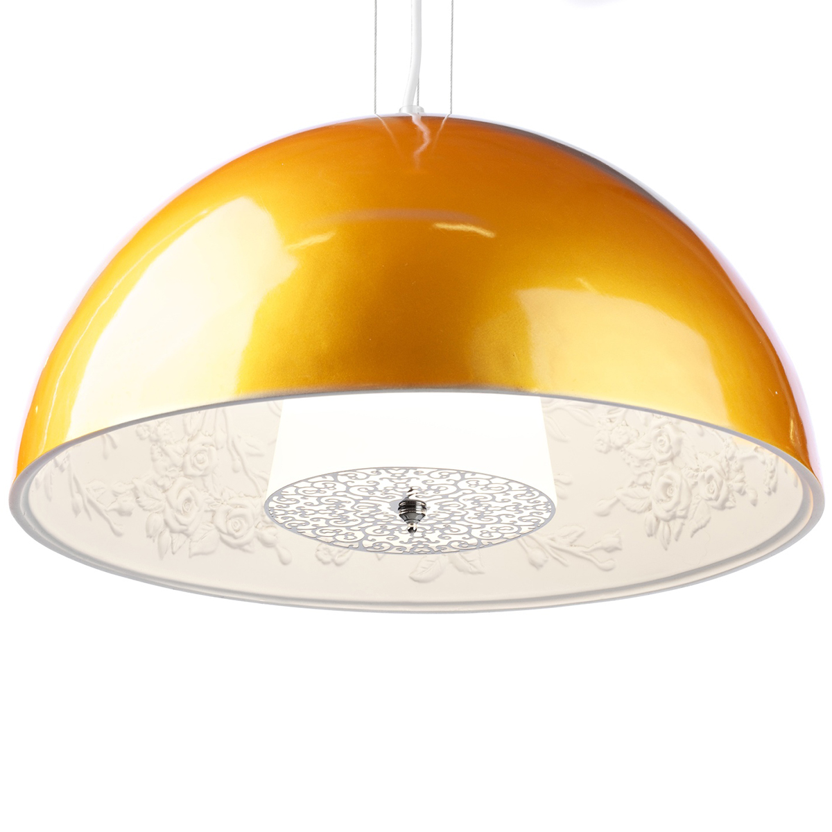Подвесной светильник SkyGarden Flos D40 goldПодвесные светильники<br>Оригинальная подвесная лампа SkyGarden — это <br>уникальный в своем роде предмет декора, <br>который наполнит ваш дом роскошью, грациозностью <br>и элегантностью. С виду простой и гладкий <br>плафон из полимерной смолы украшен, однако, <br>очаровательной лепкой внутри, что делает <br>аксессуар уникальным. Лампа подарит помещению <br>мягкий непринужденный свет, а также уют <br>и комфорт. SkyGarden или Небесный сад — именно <br>так переводится название светильника — <br>обязательно будет радовать вас своим освещением <br>и эстетическим видом. Подарите себе кусочек <br>райского сада с подвесной лампой SKYGARDEN!<br><br>Цвет: Золото<br>Материал: Полимерная смола, Гипс<br>Вес кг: 5<br>Длина см: 40<br>Ширина см: 40<br>Высота см: 20