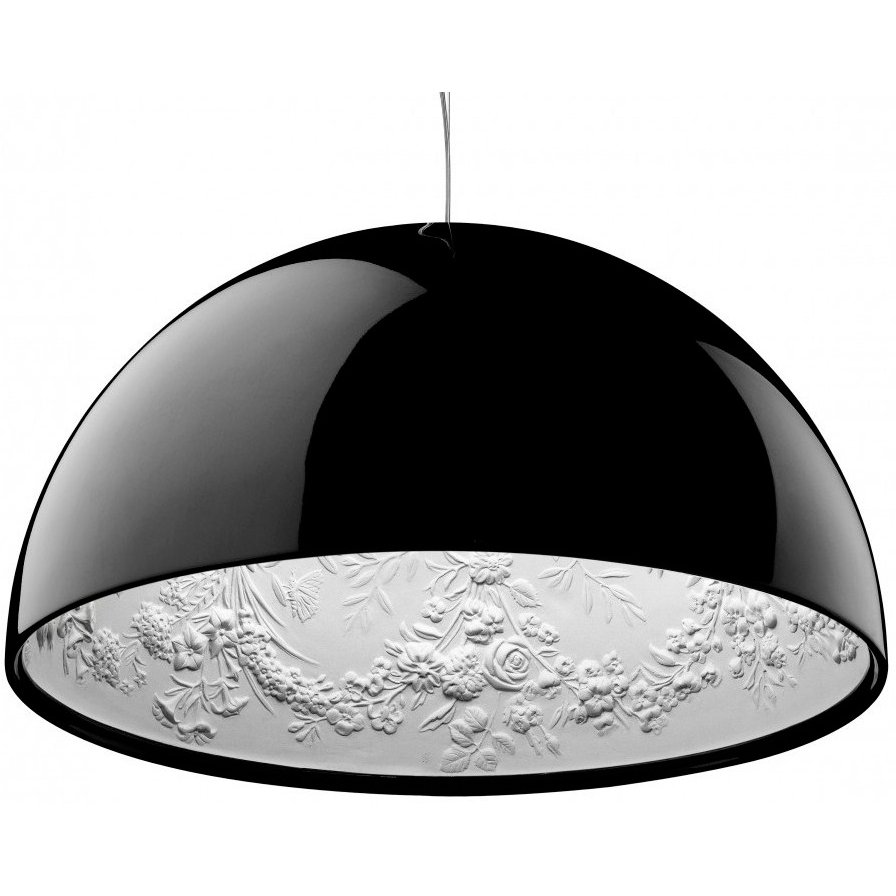 Подвесной светильник SkyGarden Flos D60 blackПодвесные светильники<br>Оригинальная подвесная лампа SkyGarden — это <br>уникальный в своем роде предмет декора, <br>который наполнит ваш дом роскошью, грациозностью <br>и элегантностью. С виду простой и гладкий <br>плафон из полимерной смолы украшен, однако, <br>очаровательной лепкой внутри, что делает <br>аксессуар уникальным. Лампа подарит помещению <br>мягкий непринужденный свет, а также уют <br>и комфорт. SkyGarden или Небесный сад — именно <br>так переводится название светильника — <br>обязательно будет радовать вас своим освещением <br>и эстетическим видом. Подарите себе кусочек <br>райского сада с подвесной лампой SKYGARDEN!<br><br>Цвет: Чёрный<br>Материал: Полимерная смола, Гипс<br>Вес кг: 11<br>Длина см: 60<br>Ширина см: 60<br>Высота см: 33
