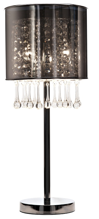 Настольная лампа AmberНастольные лампы<br>Серебристый ПВХ абажур размером диаметр <br>24 см, высота 20 см; основание хромированное.<br><br>Цвет: Чёрный<br>Материал: Пластик, Металл, Хрусталь<br>Вес кг: 2,9<br>Длина см: 24<br>Ширина см: 25<br>Высота см: 77