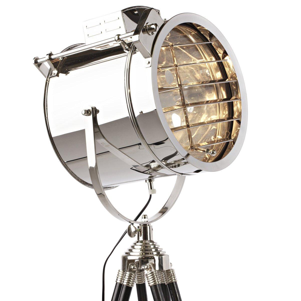 Большой напольный светильник HudsonТоршеры и напольные светильники<br>Сталь, деревянные ножки<br><br>Цвет: Серебро, Чёрный<br>Материал: Металл, Дерево<br>Вес кг: 6,5<br>Длина см: 52<br>Ширина см: 52<br>Высота см: 123