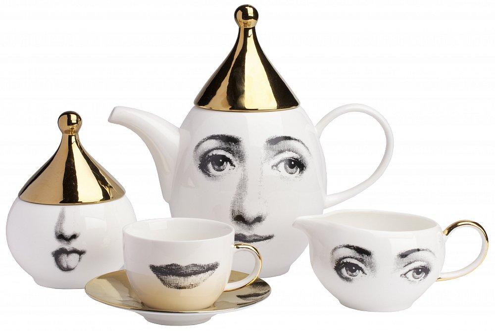 Чайный сервиз Faces Пьеро Форназетти Gold