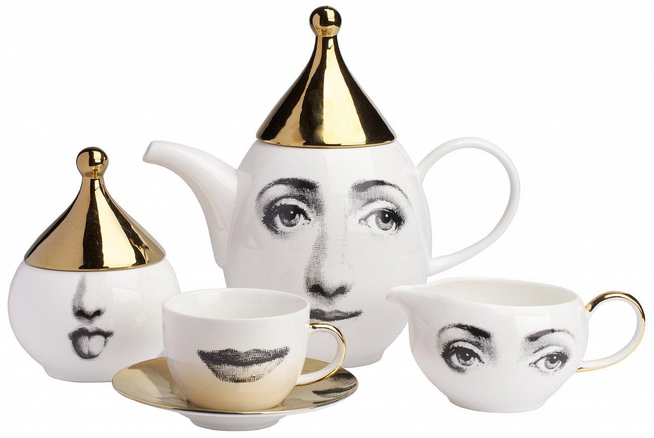 Купить Чайный сервиз Faces Пьеро Форназетти Gold в интернет магазине дизайнерской мебели и аксессуаров для дома и дачи