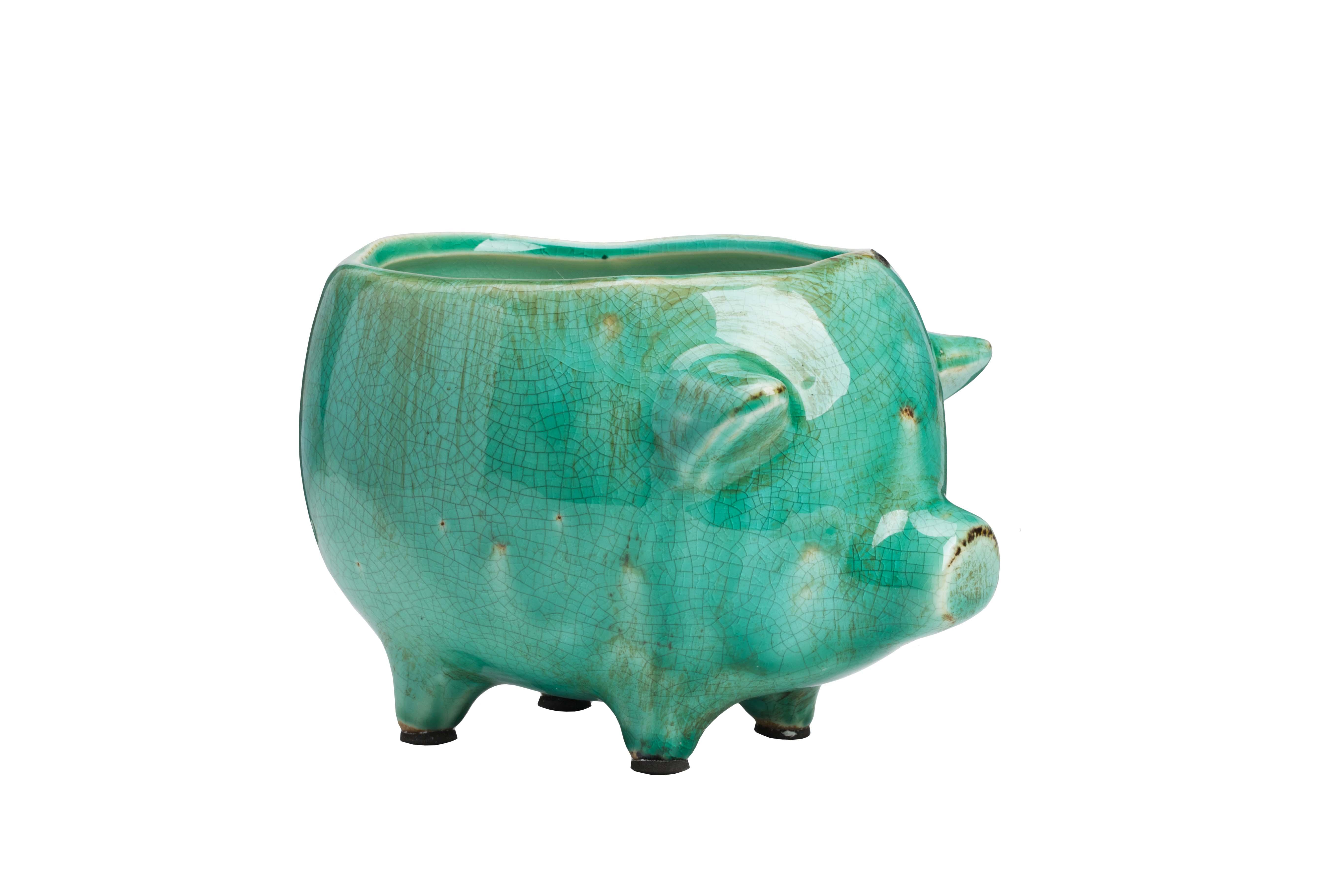 Цветочный горшок Pig Planter Голубой