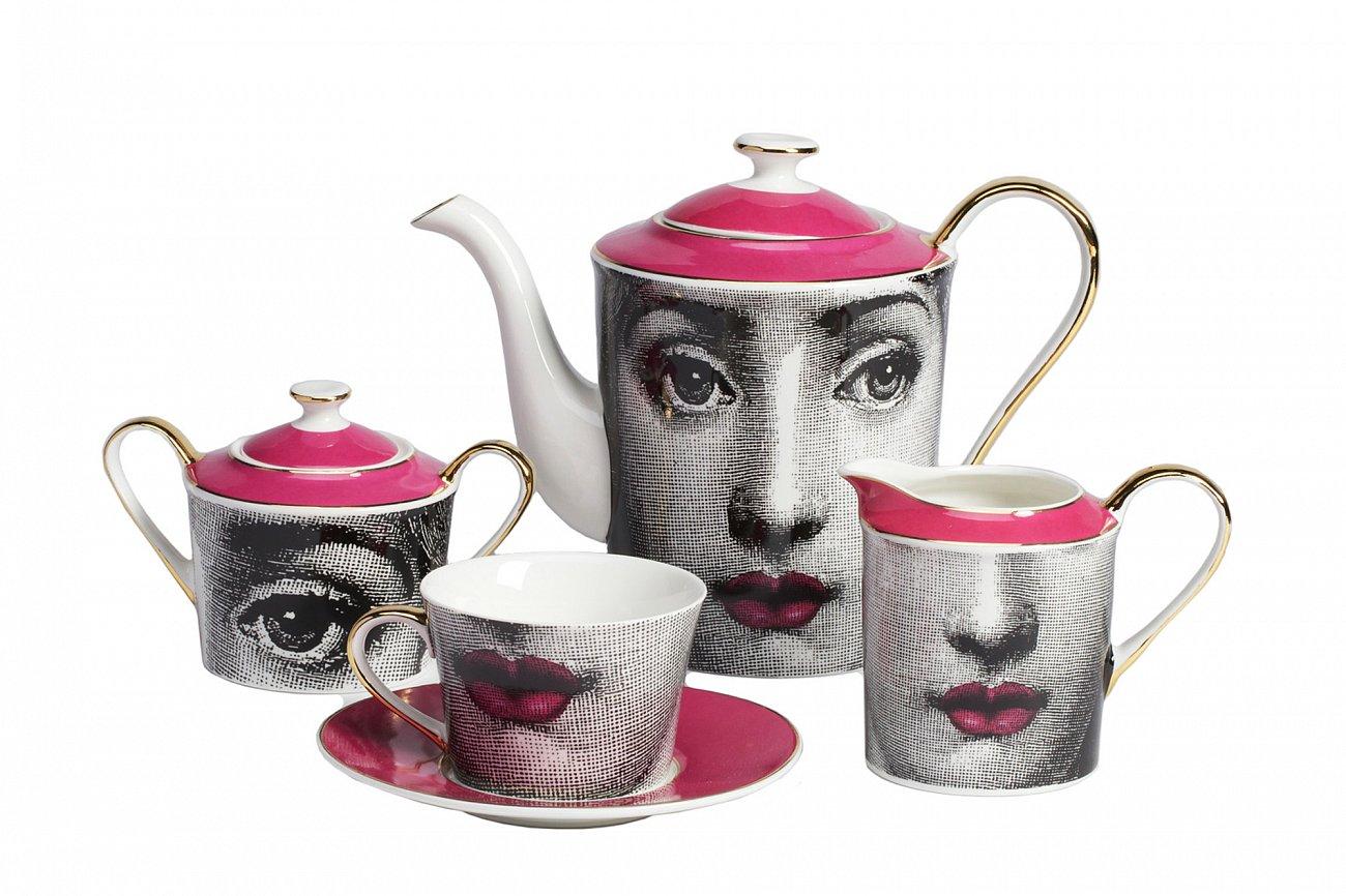 Купить Чайный сервиз Faces Пьеро Форназеттиi Pink в интернет магазине дизайнерской мебели и аксессуаров для дома и дачи