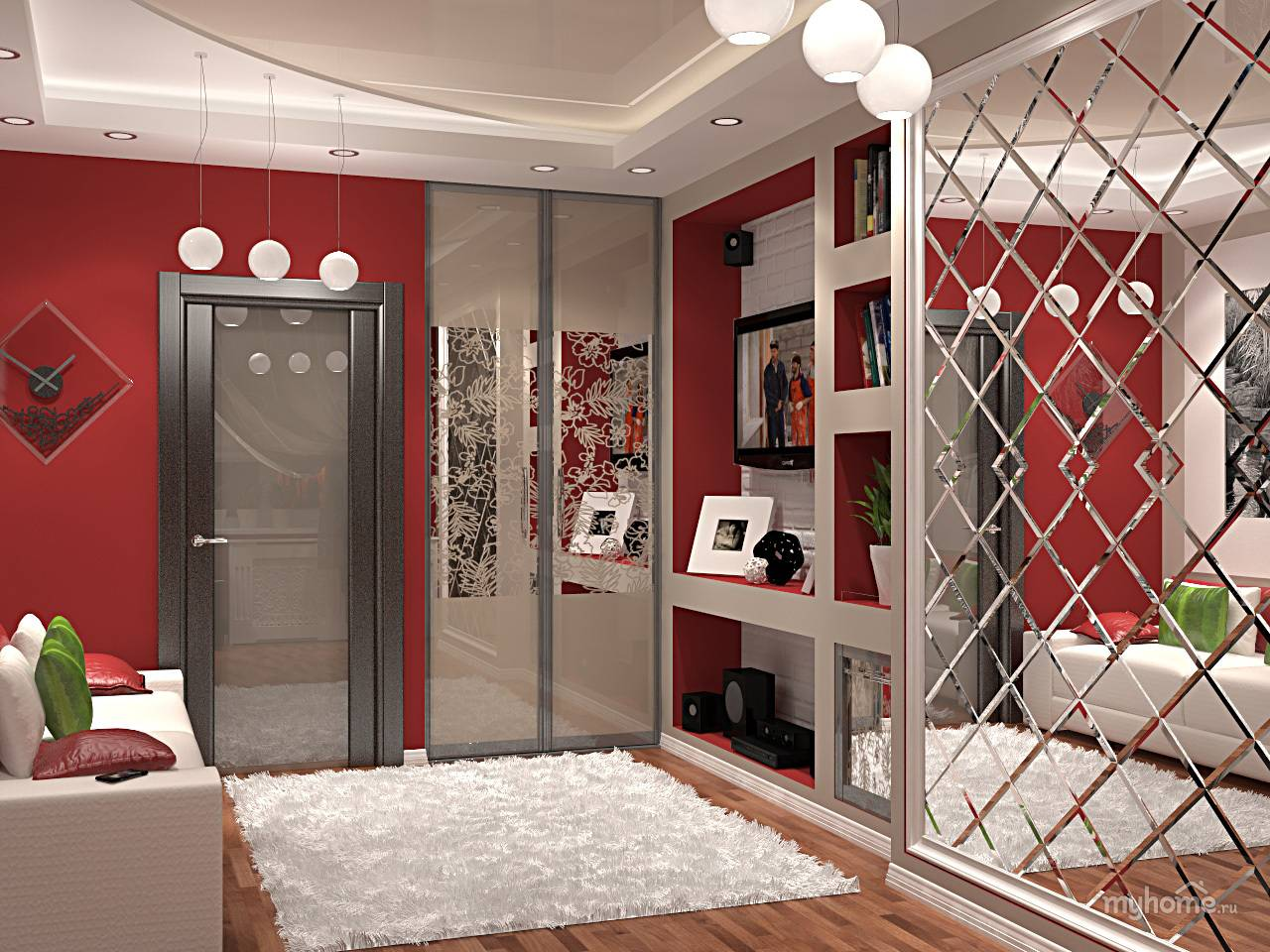 Шкафы купе с зеркалом дизайн фото