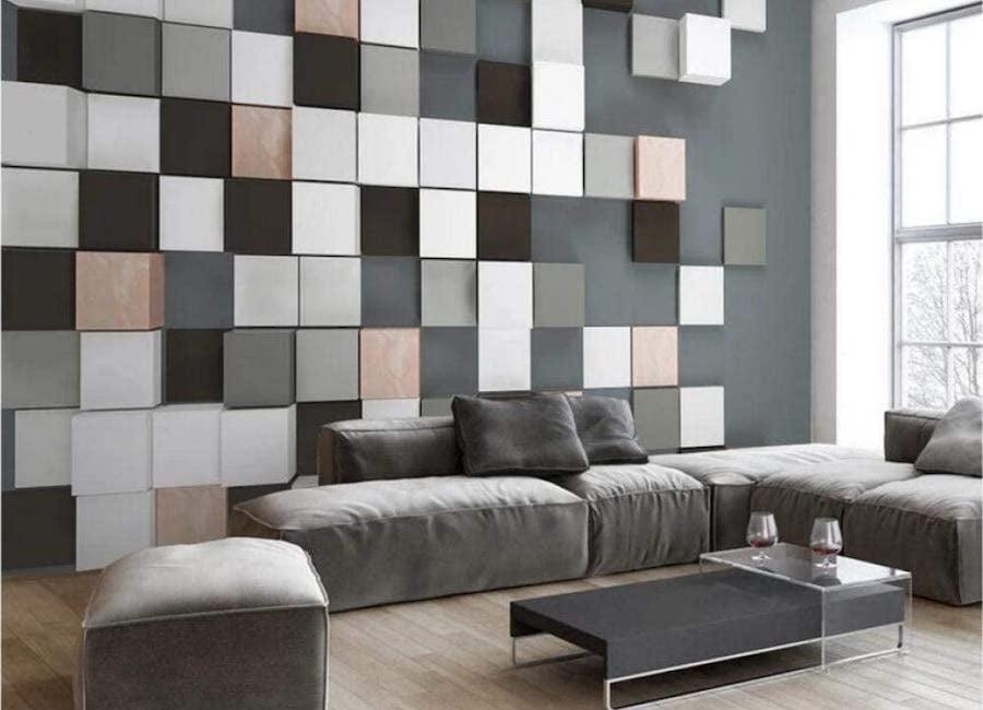 Геометрические фигуры в интерьере: обои с рисунком, мебель, декор